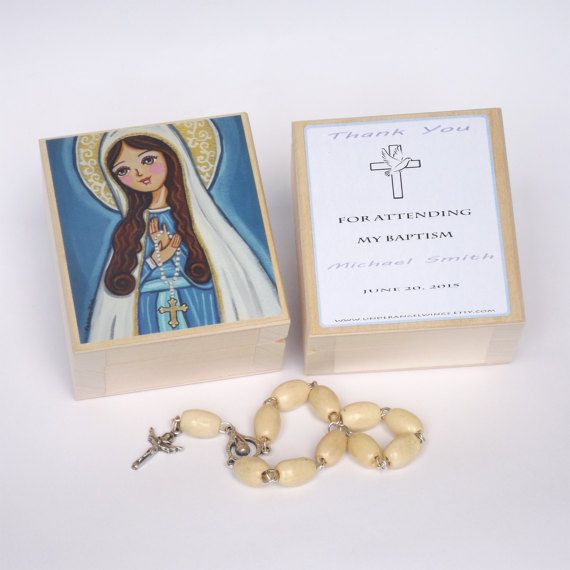 First Communion favors Our Lady Wooden keepsake by UnderAngelWings