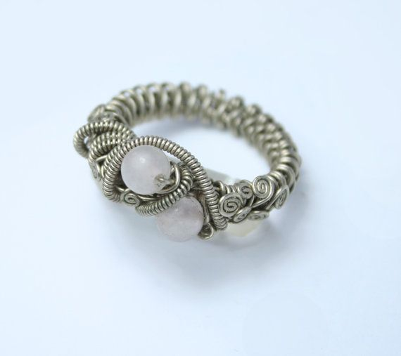 big wrapped ring with quartz / twisted rsteampunk by ArtePora