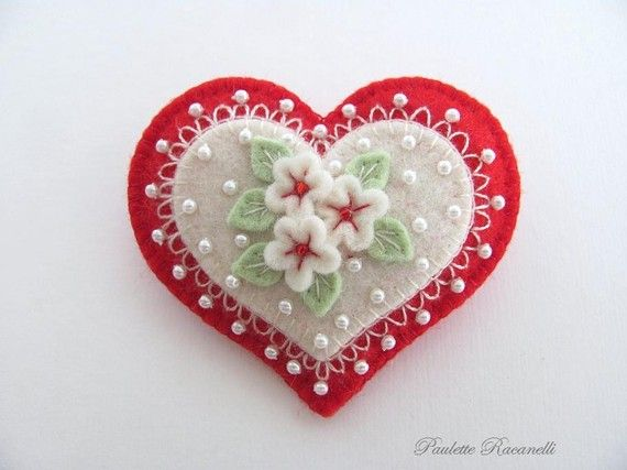 Felt Heart Pin ♡ by Beedeebabee on Etsy                                                                                                                                                      More