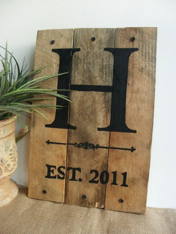 Monogram Pallet Sign With Established Date----- Makes a perfect wedding or housewarming gift! - Measures approximately 14 tall x 10.5 wide -