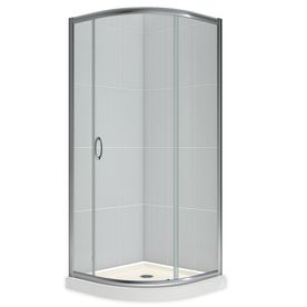 DreamLine Solo Chrome Acrylic Floor Round 2-Piece Corner Shower Kit (Actual: 74.75-in x 33-in x 33-in)