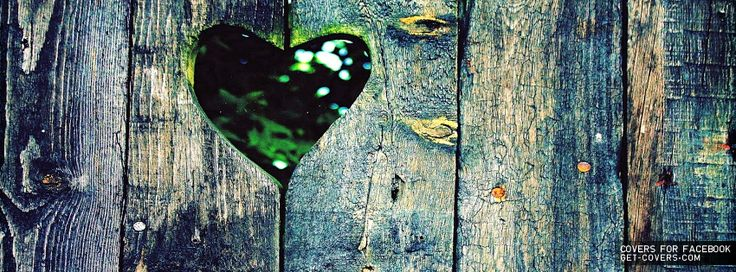 Love, heart shaped hole in wooden fence,  - Facebook cover - Portada Facebook - Couverture Facebook