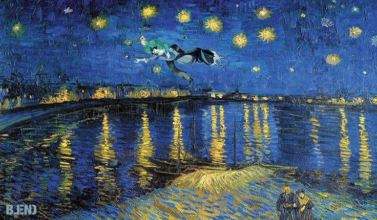Vincent Willem van #Gogh & Marc #Chagall | Starring night over Rhone & Over the town.   #art #paintings #blend