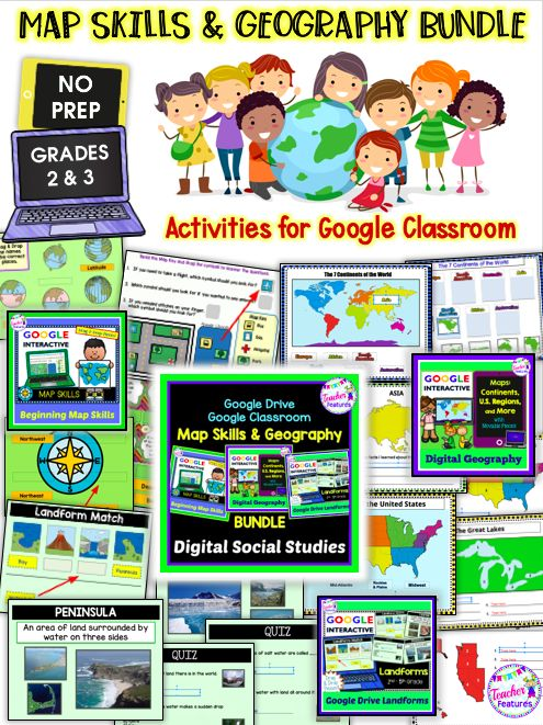 Google Classroom Activities Map Skills Geography Bundle