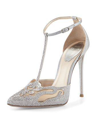 Crystal+T Strap+Pointed Toe+Pump,+Silver+by