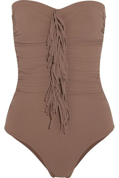 Karla Colletto - Fresco Fringed Ruched Bandeau Swimsuit - Light brown - US10