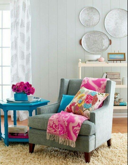 decor home teal fushia gray grey pink white hotpink ecru cream ivory paisley cool colors