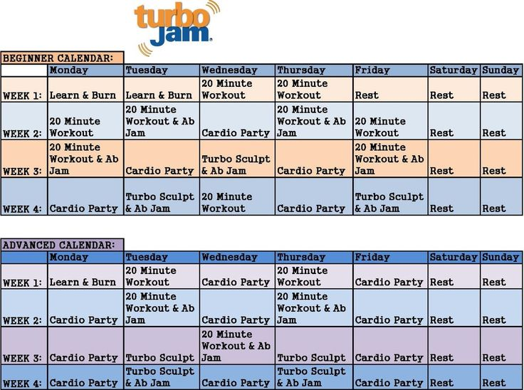 Turbo jam beginner & advanced schedule
