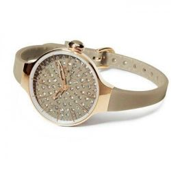Hoops Cherie Diamond Gold Case Brown Rubber Strap 2483LGD08