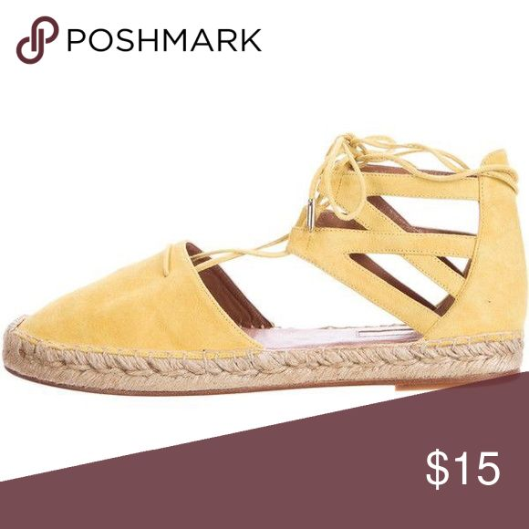 Mustard Yellow Faux suede espadrille flats Practically new! Worn only once or twice. Shoes Espadrilles