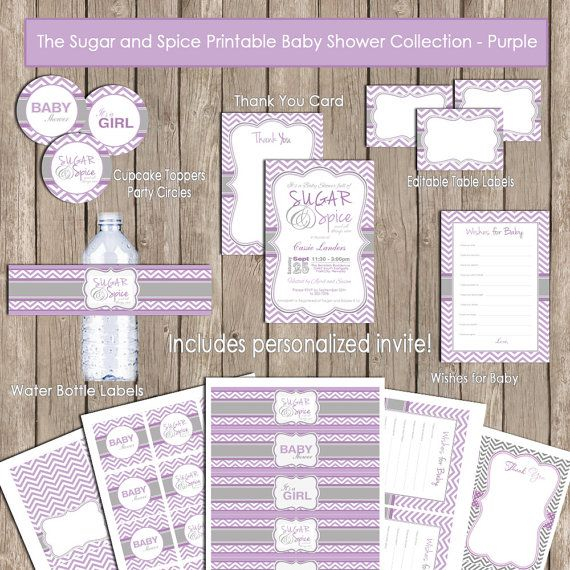 Invitation Party Package - Sugar and Spice Baby Shower Purple and Grey Chevron Party Package Printable (PARTIAL INSTANT DOWNLOAD) - design2