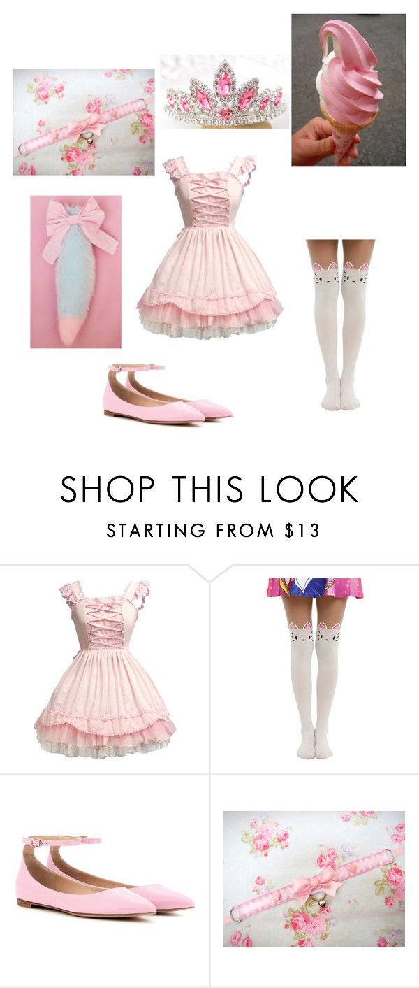 """""""DDLG"""" by music208 ❤ liked on Polyvore featuring Gianvito Rossi, Pink, princess, sparkle and ddlg"""