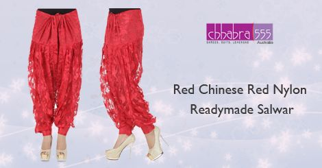 Buy Red Chinese Red Nylon Readymade Salwar in @ $31.95 AUD fom collections of over 4000 unique products - design, colour and fabric scheme of Chhabra555‬ in ‪‎Australia‬.