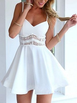 Shop White Spaghetti Strap Lace Waist Skater Dress from choies.com .Free shipping Worldwide.$19.9