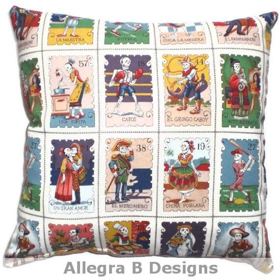 Day of the Dead Pillow Cushion Mexican Loteria Rockabilly Home Decor on Etsy, $16.90 CAD