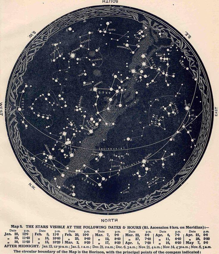1942 constellations star map original vintage by antiqueprintstore, $25.00