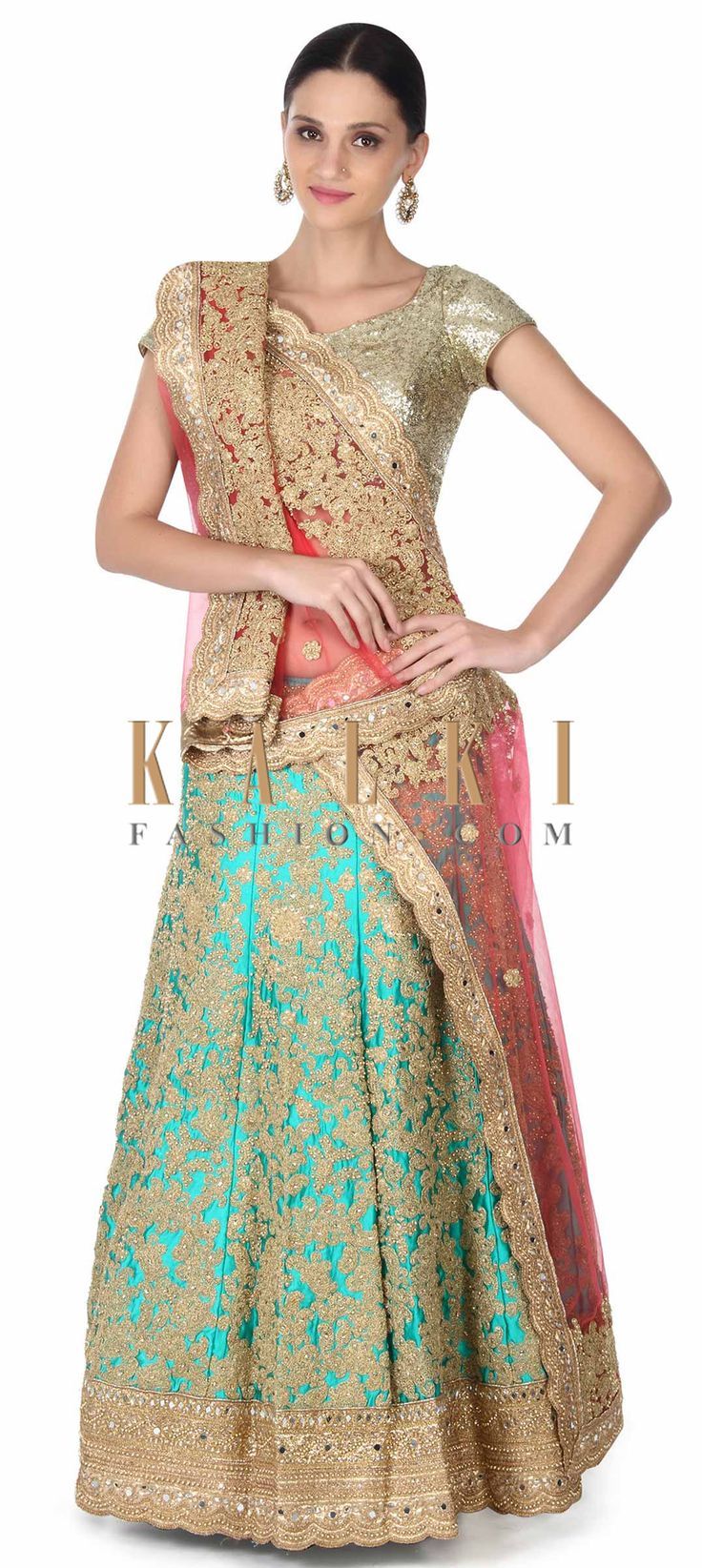 Buy this Semi stitched turq lehenga in zari and moti embroidery only on Kalki