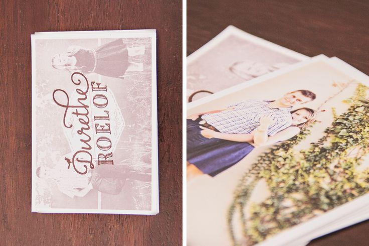 Durethe and Roelof – Save the Dates. A pretty design in Dusty pinks, Browns & Nudes. Vintage, Quirky & Romatic