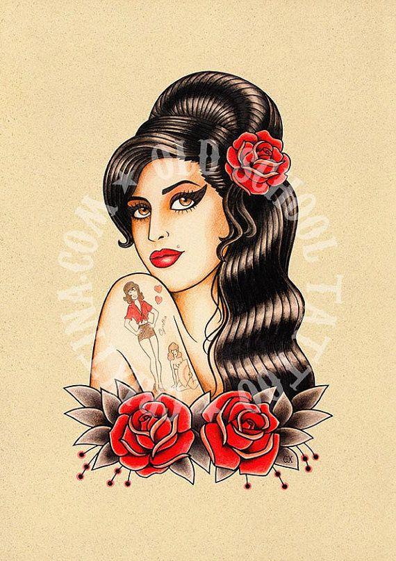 T15. Amy Winehouse art tattoo Flash tattoo Old school por Retrocrix