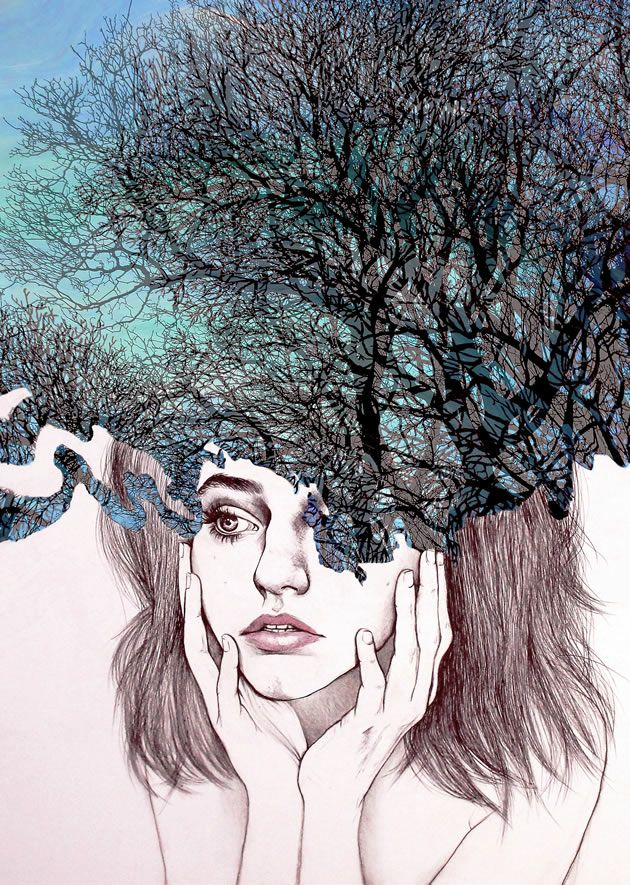 This self-portrait, 'Scatterbrain', was part of Kate's exam submission. It combines both traditional and digital techniques, with a photograph of a tree overlaid onto a painted background.