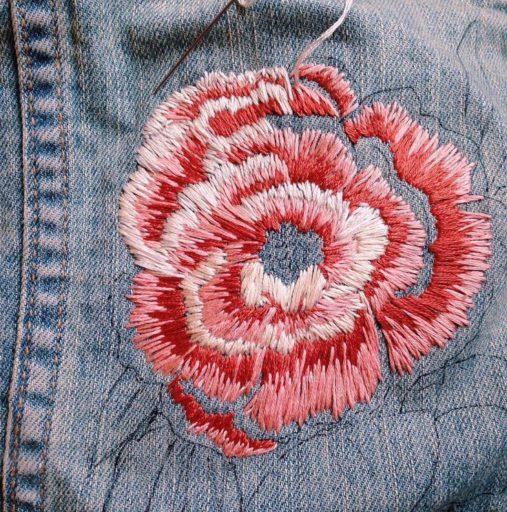 """256 Likes, 7 Comments - Sam (@smeldridge) on Instagram: """"Peony on denimmmmm . . . . . . . . . . . #wip #embroidery #denim #embroidered #handembroidery…"""""""