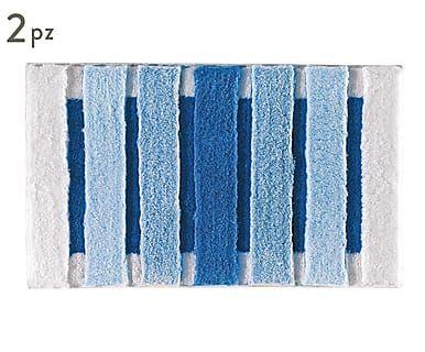Set di 2 tappeti bagno in acrilico Selinus blu, max 100x50 cm