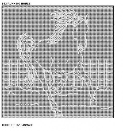 $6 HORSE RUNNING FILET CROCHET DOILY AFGHAN (Pattern 923): Pattern will be emailed.