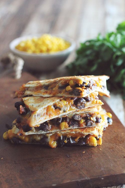 10 Minute Black Bean & Corn Quesadillas - HUGE winner in our house. Great meatless Monday option! We paired it with salsa and guac and it was perfection.