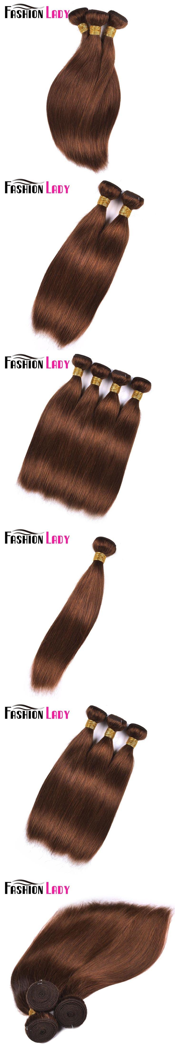 FASHION LADY Pre-Colored 100% Human Hair Weave #4 Medium Brown One Piece Peruvian Straight Hair Human Hair Weft Non-Remy