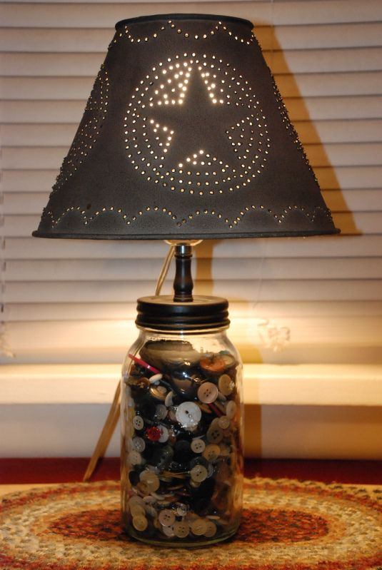 Cute Button Lamp And Pierced Tin Lampshade.