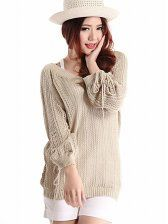 V-neck Hollow Out Pullover Knitted Sweater(With Tank)