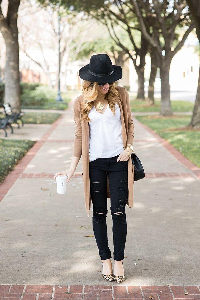 long camel cardigan outfit, distressed black skinny jeans, leopard heels, black fedora