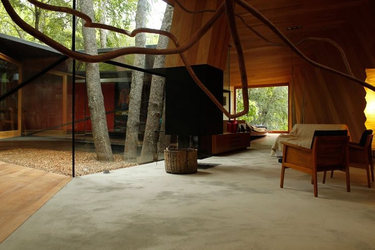 incredible modern rustic home in the Chilean forest... w/ Central Courtyard