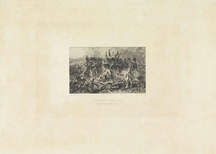 Léopold Flameng | Generaal Cambronne tijdens de Slag bij Waterloo, 1815, Léopold Flameng, A. Salmon, 1867 - 1869 | De Franse generaal Pierre Cambronne gevangen genomen tijdens de Slag bij Waterloo, 18 juni 1815. De generaal staat alleen tegenover Britse troepen.