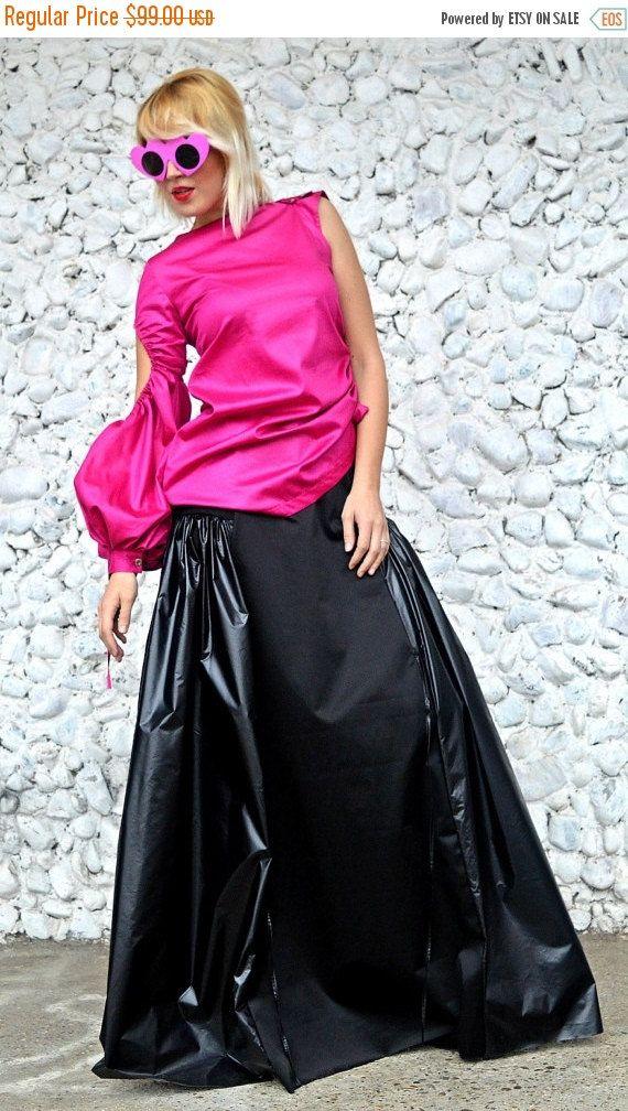 ON SALE 20% OFF Extravagant Black Skirt / Funky Cotton Slicker Skirt / Extravagant Loose Black Skirt Ts17 / Urban Muse