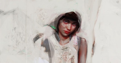 magdalena kapinos grey head scarf. repainted portrait from earlier piece: