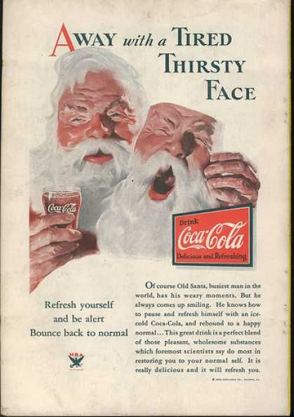 Drink Coca Cola -1933 ad First time I've seen a creepy coke ad with Santa Claus