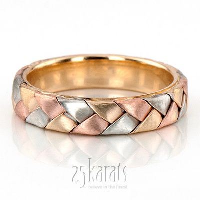 A tri-color braided masterpiece. Available in 14K Gold, 18K Gold & Platinum. / Style Number : HM0003