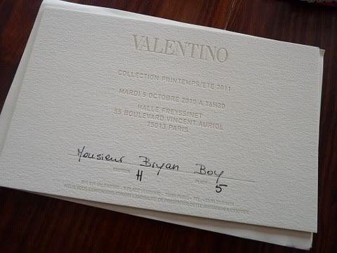 Valentino Spring Summer 2011 Show Invitation Invitation Pinterest