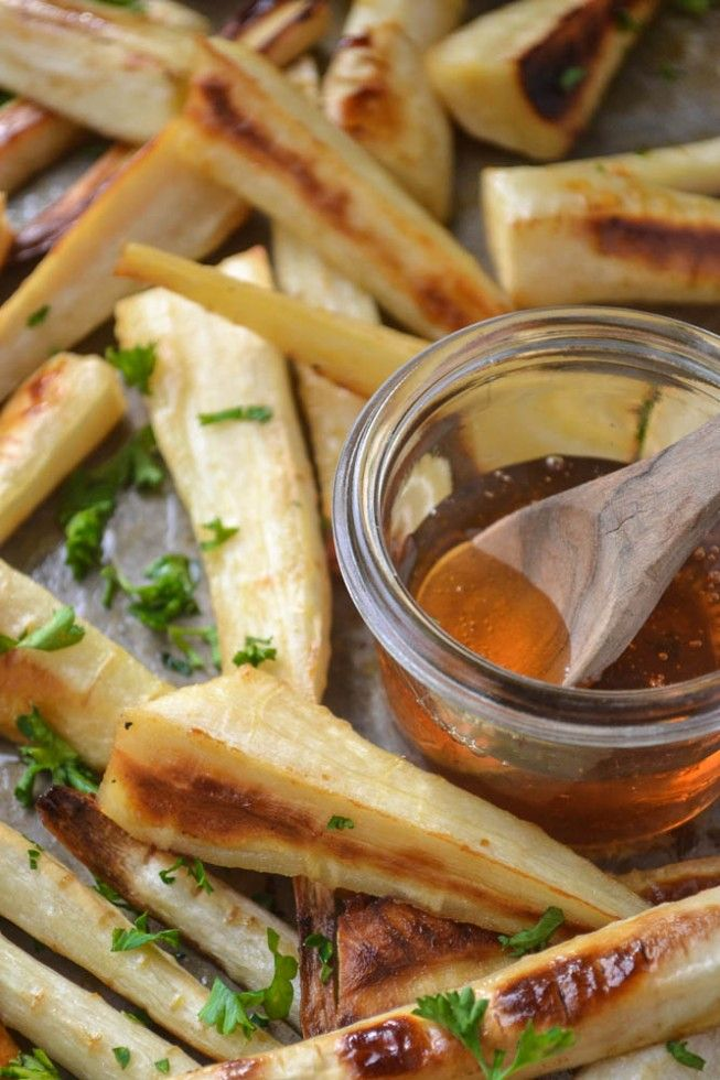 """Honey Roasted Parsnips (recipe) - """"Parsnips are the sweeter and creamier version of carrots, and they caramelize beautifully in a hot oven."""""""