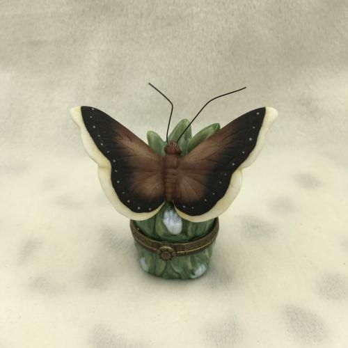 "Midwest MCF PHB Porcelain ""Mourning Cloak"" Butterfly Hinged Trinket Box"