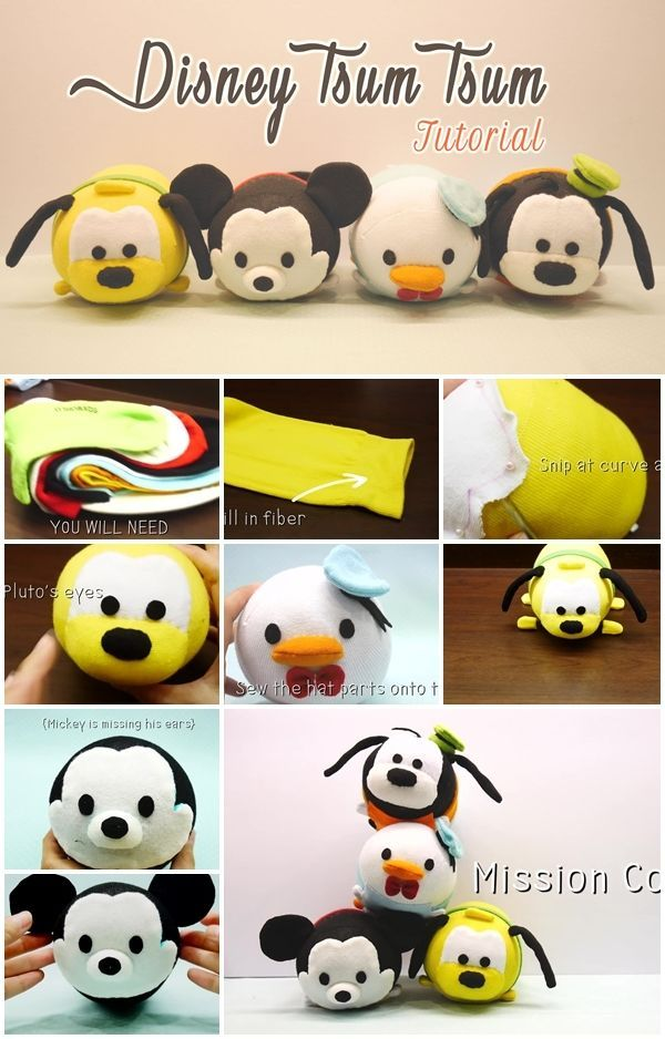 How to Make Disney Tsum Tsum Plushies from socks.great start to finish tutorial.Great for baby,toddler or child to play with even great as a pet toy.