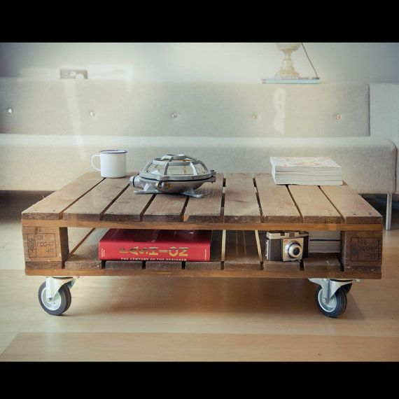 rustic wooden pallet coffee table pallet by RosesUpcycled on Etsy, $110.00
