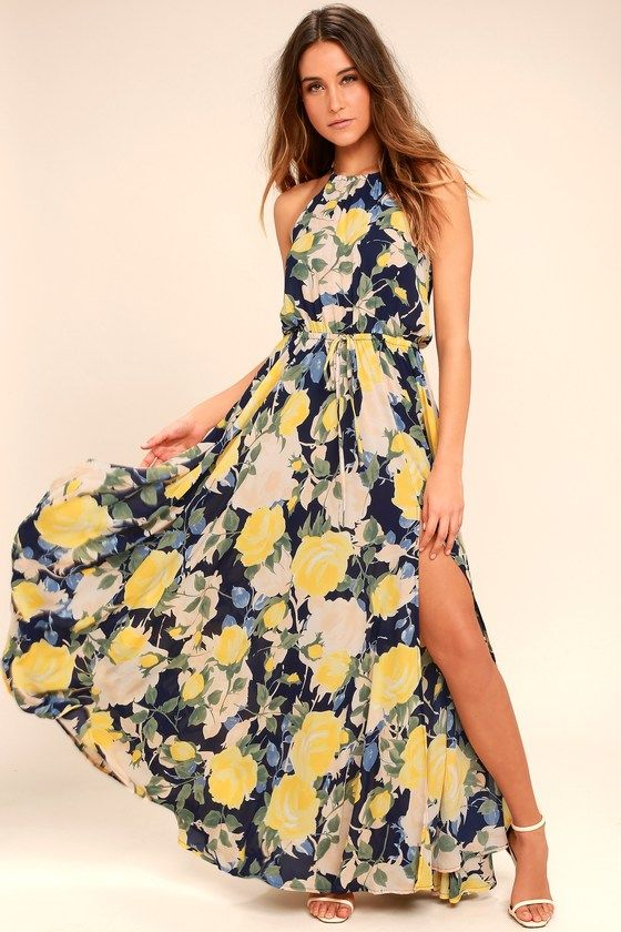 cdc26fb54723 Cherish every special occasion spent in the Precious Memories Navy Blue and  Yellow Floral Print Maxi Dress! Drawstring halter dress has a navy blue,  yellow, ...