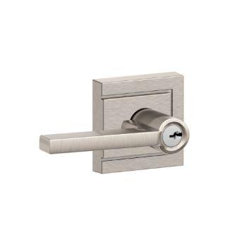 Schlage Latitude Single Cylinder Keyed Entry Door Lever Set With De Satin  Nickel Leverset Keyed Entry Single Cylinder