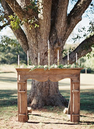 vintage mantel for ceremony focal piece | Chris Isham