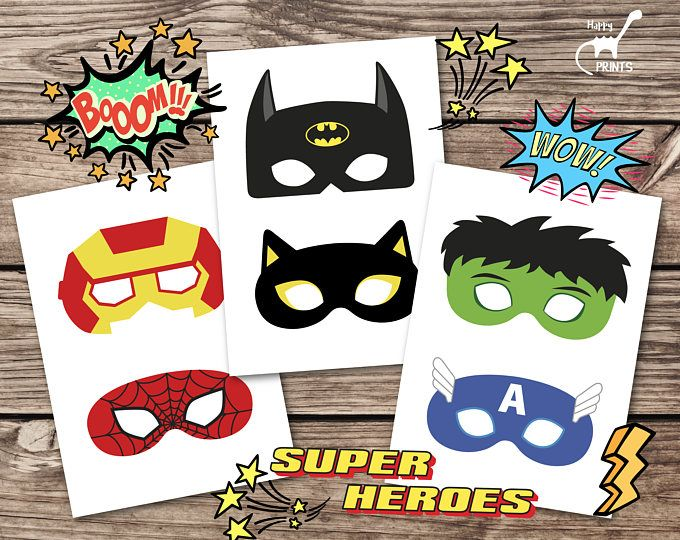 DIY Superhero Printable Masks Photo Booth Props In Comic Book Style,  Colored And Black And White Version, Digital Download PP001