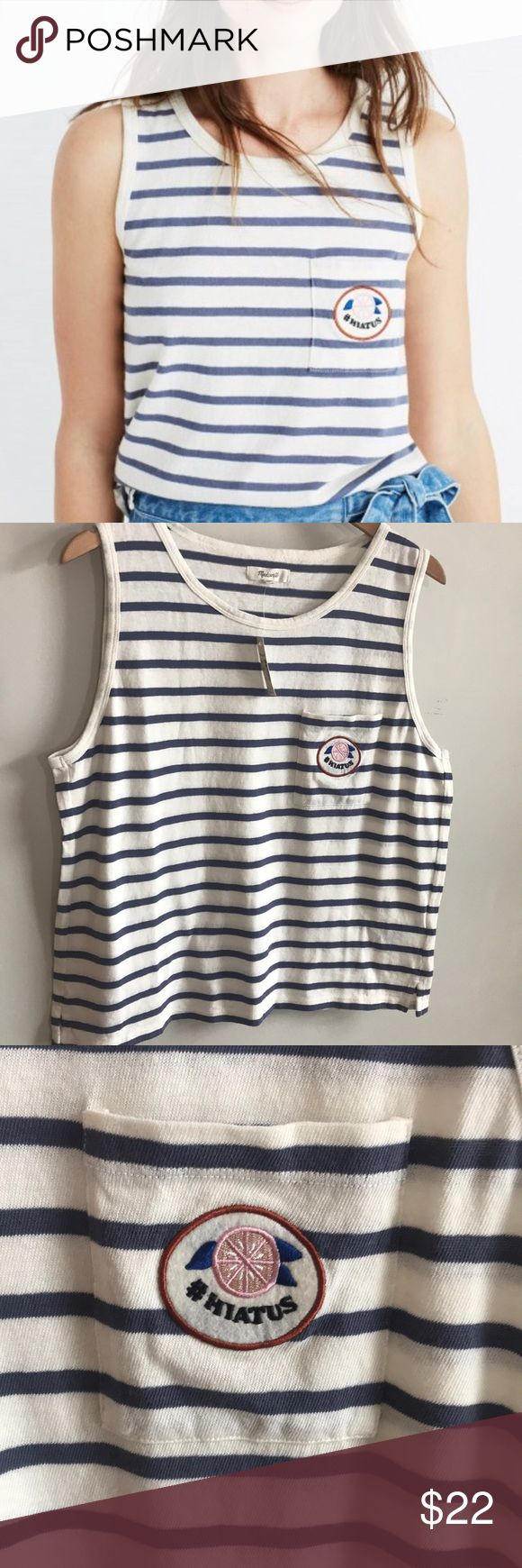 🆕 [Madewell] Striped Hiatus Tank BNWT  An easy striped tank with an embroidered felt patch inspired by vintage French fruit stickers (let's just say our head designer has a low-key obsession). Destined for your next Summer Friday #hiatus.  True to size. Cotton jersey. Machine wash. Import. Item G6625. Madewell Tops Tank Tops