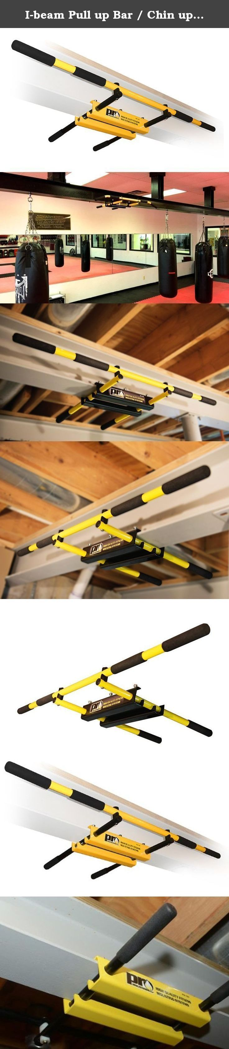 """I-beam Pull up Bar / Chin up Bar (Yellow Long Bar with Straight Ends) PRO Mountings. Designed by PRO Mountings the original I-beam Pull-Up Bar easily mount to any steel I-beam from 3-1/2"""" to 10"""" wide. It has 3 Different Grip Positions and has a certified and tested 500lb Weight Limit!! All Mounting Hardware is Included. Used by professional trainers, athletes, military troops and commercial gyms this pull up bar is designed to last! We offer a 30 day money back guarantee and a lifetime..."""