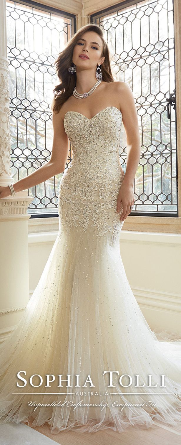 Sophia Tolli Spring 2016 Wedding Dress sequinned and tuille trumpet wedding dress.